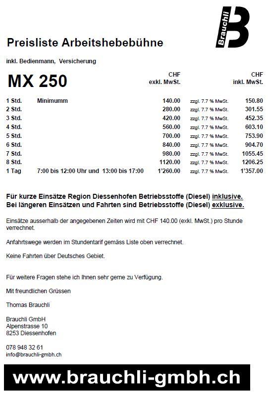 Preisliste Hebebuehne MX 250_Brauchli GmbH