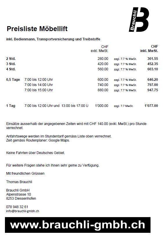 Preisliste Möbellift_Brauchli GmbH